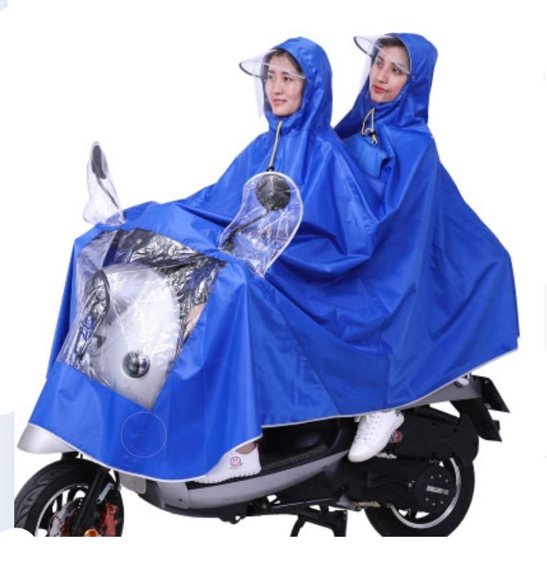 Двойной плащ-дождевик для мотоциклистов и мопедистов с экраном для лица и козырьком