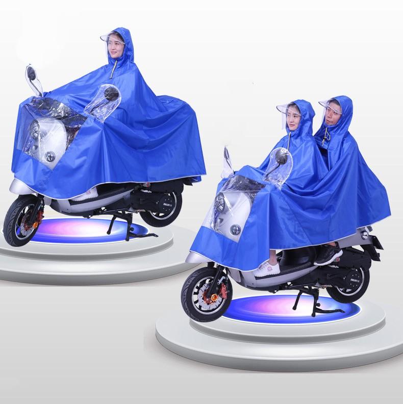 Двойной плащ дождевик для мотоциклистов и мопедистов с экраном для лица 09 - Двойной плащ-дождевик для мотоциклистов и мопедистов с экраном для лица и козырьком