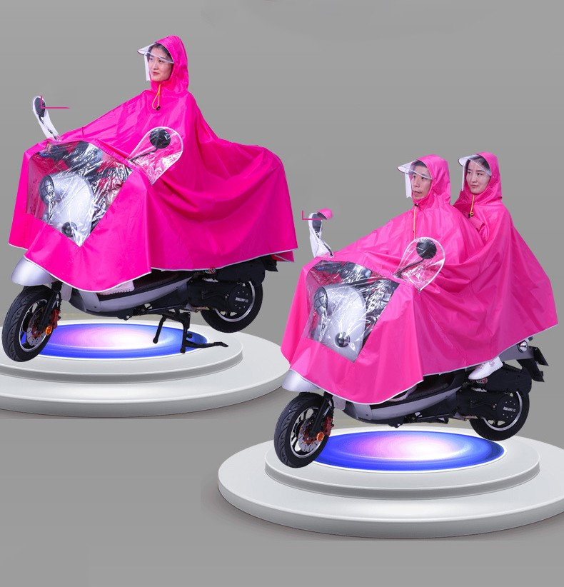 Двойной плащ дождевик для мотоциклистов и мопедистов с экраном для лица 10 - Двойной плащ-дождевик для мотоциклистов и мопедистов с экраном для лица и козырьком