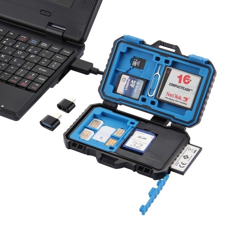 Универсальный кейс-картридер PULUZ Card Reader – 20 в 1, бокс для карт памяти 3хCF + 7хSD + 9хTF + 1хCARD PIN