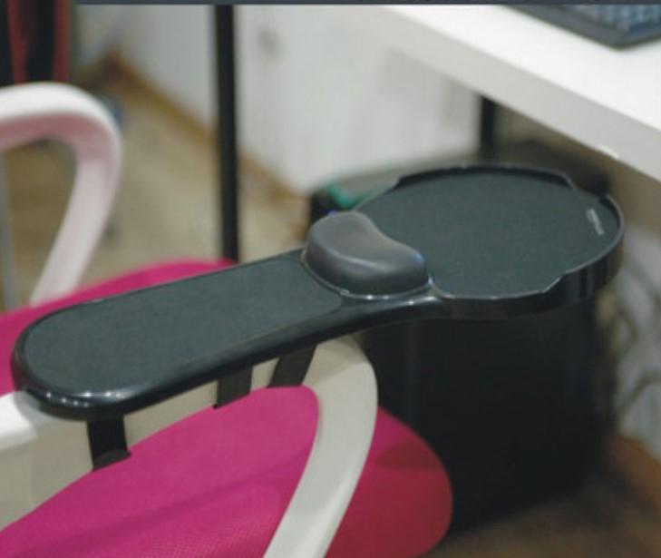 Эргономичная подставка под руку с ковриком для мыши: подушка из memory foam, профилактика туннельного синдрома кисти - Черный