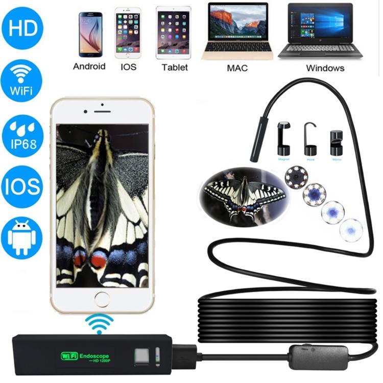 10-метровый беспроводной USB-эндоскоп - поддержка iOS, Android и Windows, 720p, Wi-Fi, 6 светодиодов, IP67, 600 мАч