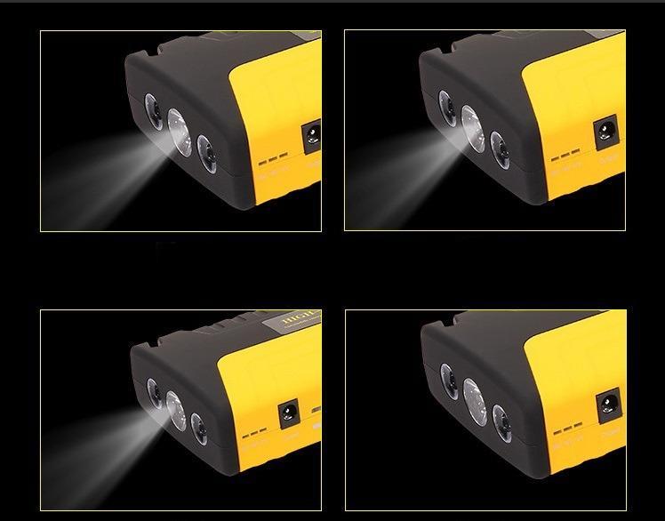 4 2 - Прикуриватель для автомобиля Jump Starter + повербанк 9000 мАч: 2 х USB 5V 2A, 12В 10А, стартер-кабели, адаптеры