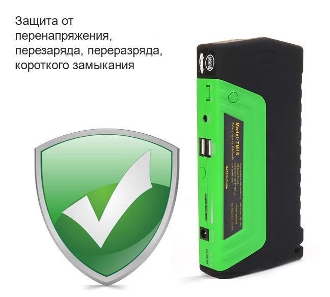 5 1 - Прикуриватель для автомобиля Jump Starter + повербанк 9000 мАч: 2 х USB 5V 2A, 12В 10А, стартер-кабели, адаптеры