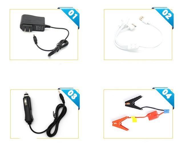 9 1 - Прикуриватель для автомобиля Jump Starter + повербанк 9000 мАч: 2 х USB 5V 2A, 12В 10А, стартер-кабели, адаптеры