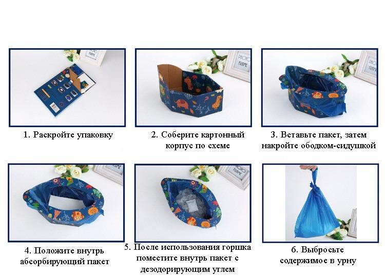 odnorazovyj portativnyj detskij gorshok dlja puteshestvij 01 - Одноразовый портативный детский горшок для путешествий: комплект на 4 использования
