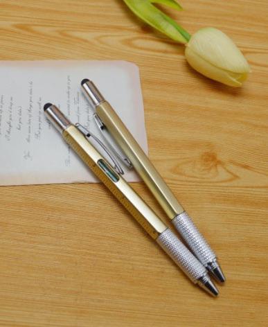 Шариковая ручка 6 в 1 с линейкой, уровнем, стилусом и двумя отвертками