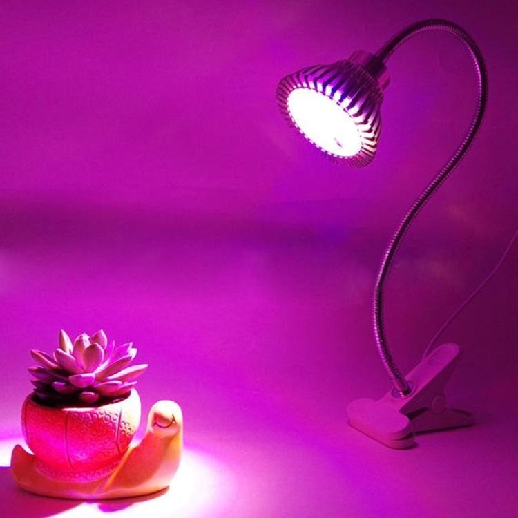 Светодиодная фитолампа для растений – 7 Вт, 7 светодиодов, крепление