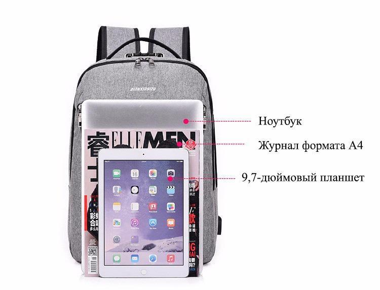 gorodskoj usb rjukzak new era so vstroennym usb portom i kodovym zamkom 35 - Городской USB-рюкзак со встроенным USB-портом и кодовым замком New Era