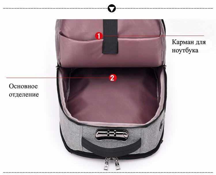 gorodskoj usb rjukzak new era so vstroennym usb portom i kodovym zamkom 39 - Городской USB-рюкзак со встроенным USB-портом и кодовым замком New Era