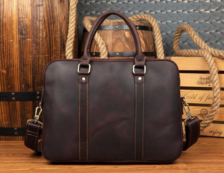 Мужская кожаная сумка для ноутбука (сумка-переноска) ManTime Luvr из натуральной кожи Crazy Horse