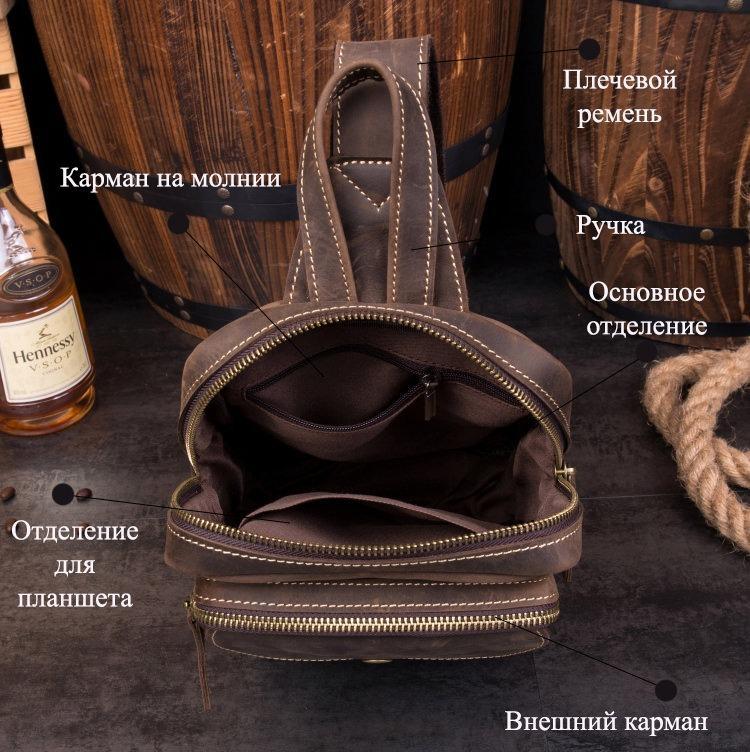 Мужская сумка-рюкзак ManTime Rain из натуральной кожи Crazy Horse 217552