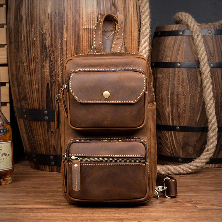 Мужская сумка-рюкзак ManTime Rain из натуральной кожи Crazy Horse 217555