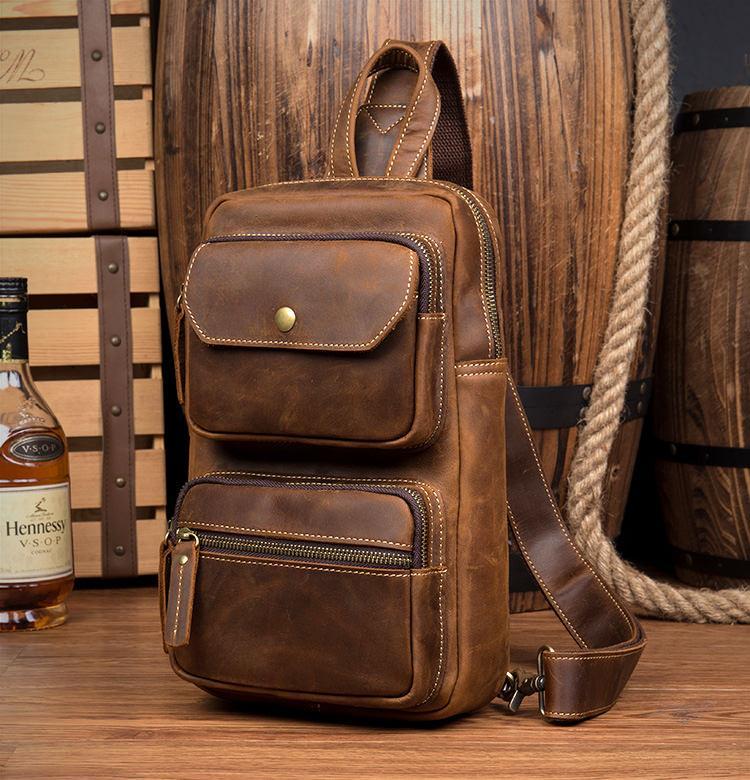 Мужская сумка-рюкзак ManTime Rain из натуральной кожи Crazy Horse