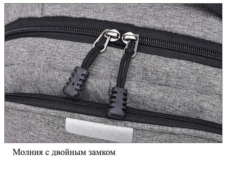 umnyj usb rjukzak s zashhitoj ot vorov bobby d 822 19 - Умный USB-рюкзак Bobby D-822 (встроенный USB-порт)