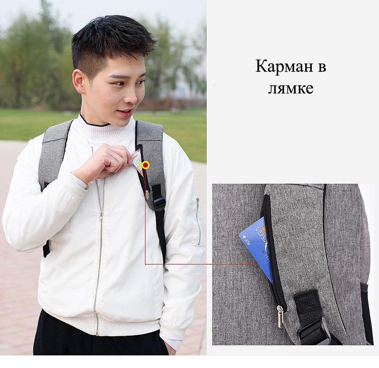umnyj usb rjukzak s zashhitoj ot vorov bobby d 822 31 - Умный USB-рюкзак Bobby D-822 (встроенный USB-порт)