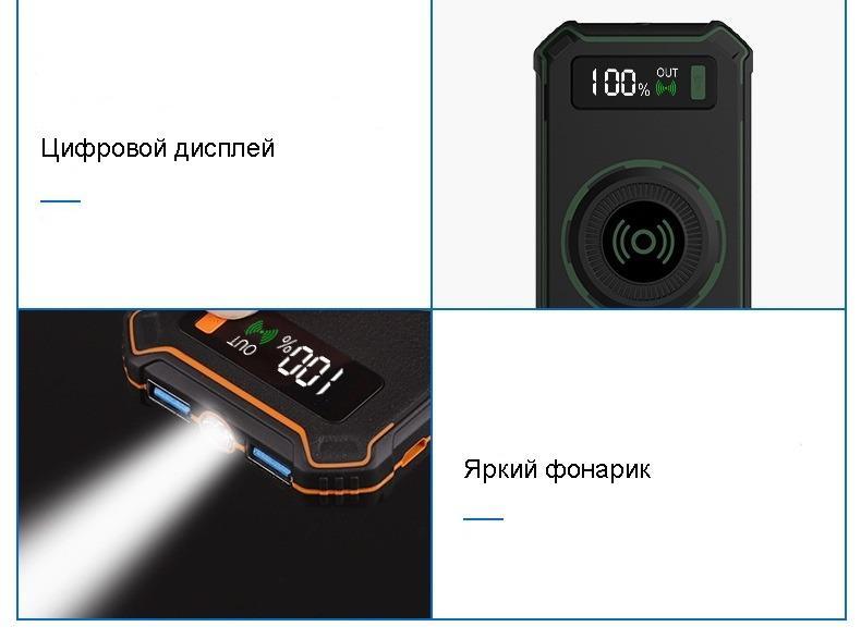 besprovodnaja qi zarjadka s funkciej paver banka 10000 mach 21 - Беспроводная Qi зарядка с функцией павер-банка 10000 мАч: 2 х USB (2А), Micro USB вход 2А