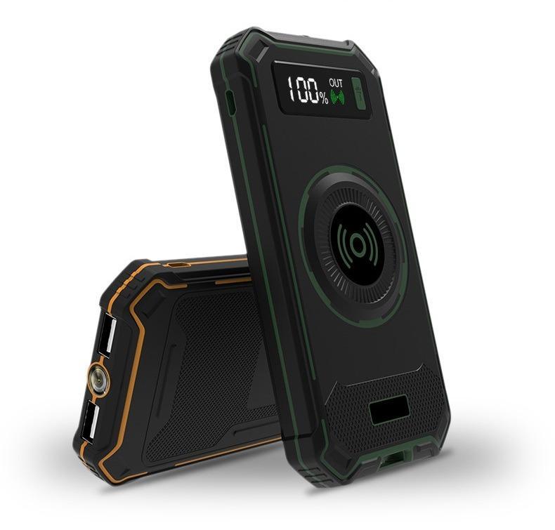 besprovodnaja qi zarjadka s funkciej paver banka 10000 mach 22 - Беспроводная Qi зарядка с функцией павер-банка 10000 мАч: 2 х USB (2А), Micro USB вход 2А