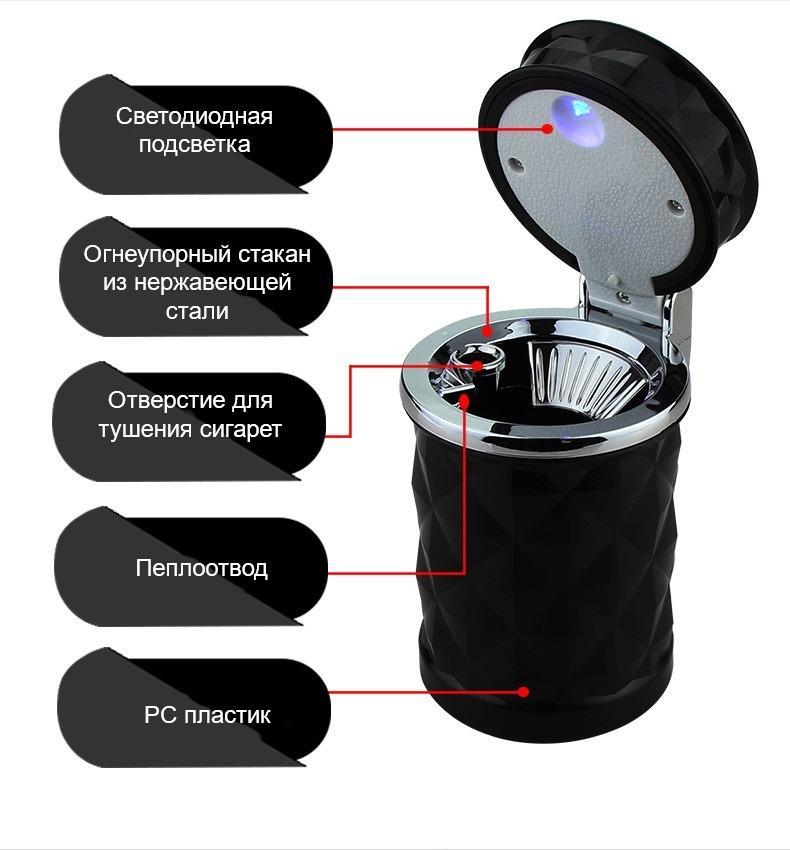 pepelnica dlja avtomobilja s podsvetkoj lsq 09 - Пепельница для автомобиля с подсветкой LSQ: крышка, держатель для сигарет