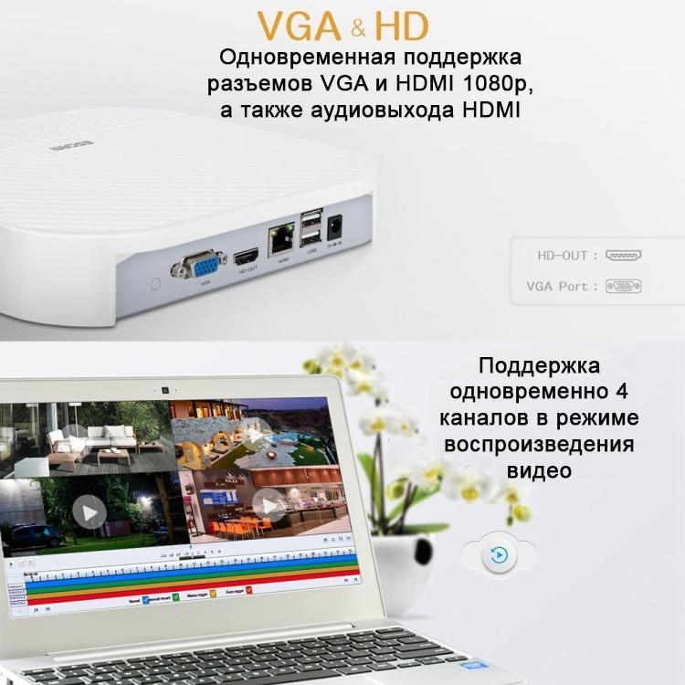 Сетевой видеорегистратор NVR ESCAM PVR208: 8CH Onvif + 2CH облачных канала (поддержка 10 IP-камер) 1080P 220456