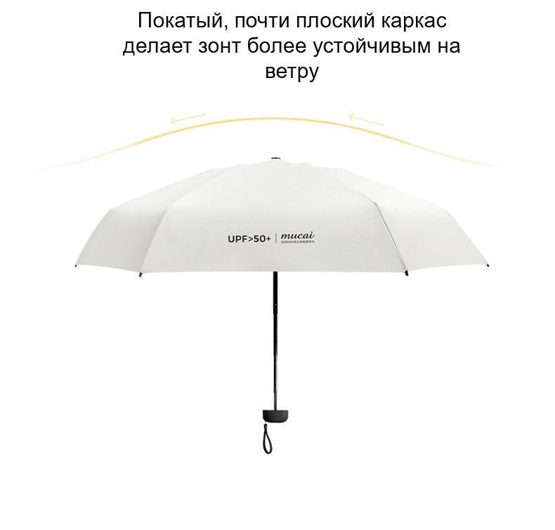 ploskij odnotonnyj zont zhenskij muzhskoj mukai ploskaja ruchka spf 50 13 - Плоский однотонный зонт (женский/ мужской) Mukai (плоская ручка, SPF 50)