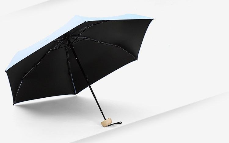 ploskij odnotonnyj zont zhenskij muzhskoj mukai ploskaja ruchka spf 50 20 - Плоский однотонный зонт (женский/ мужской) Mukai (плоская ручка, SPF 50)
