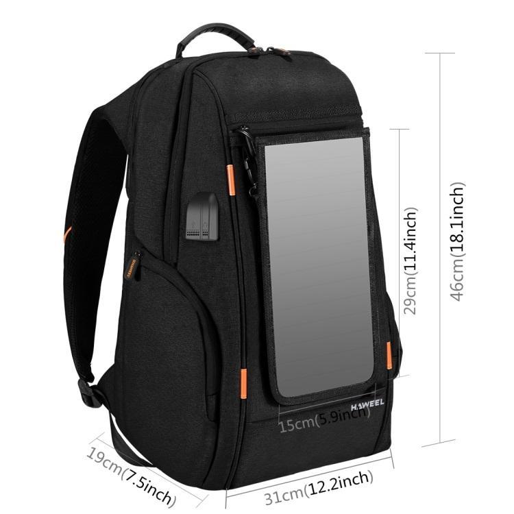 vodozashhishhennyj usb rjukzak s solnechnoj panelju 7vt haweel 2160l 06 - Водозащищенный USB-рюкзак с солнечной панелью 7Вт HAWEEL 2160L