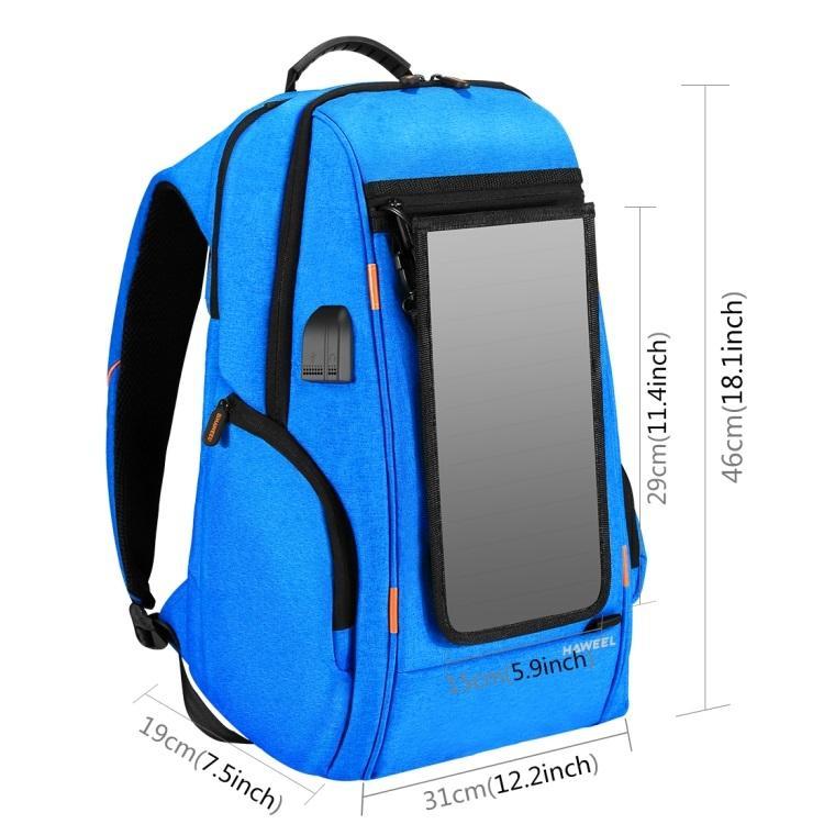 vodozashhishhennyj usb rjukzak s solnechnoj panelju 7vt haweel 2160l 14 - Водозащищенный USB-рюкзак с солнечной панелью 7Вт HAWEEL 2160L