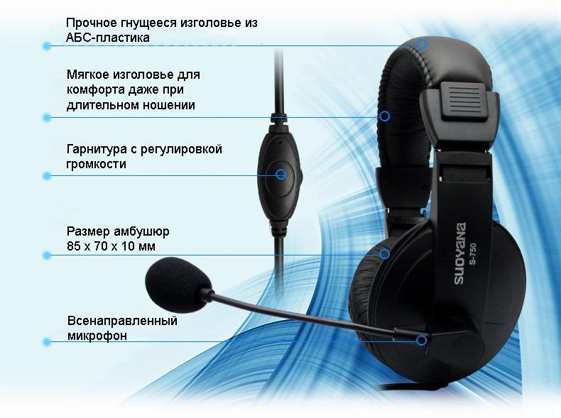 bjudzhetnye naushniki multimedijnaja garnitura suoyana s 750 05 - Бюджетные наушники/ мультимедийная гарнитура Suoyana S-750