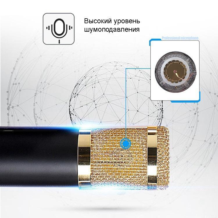 Конденсаторный микрофон (студийный микрофон) BM-800 + «паук», кабель и ветрозащита 222265