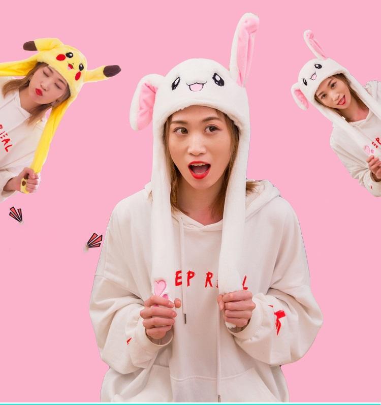 Смешная шапка с поднимающимися ушами (заяц, пикачу, стич) – оригинал