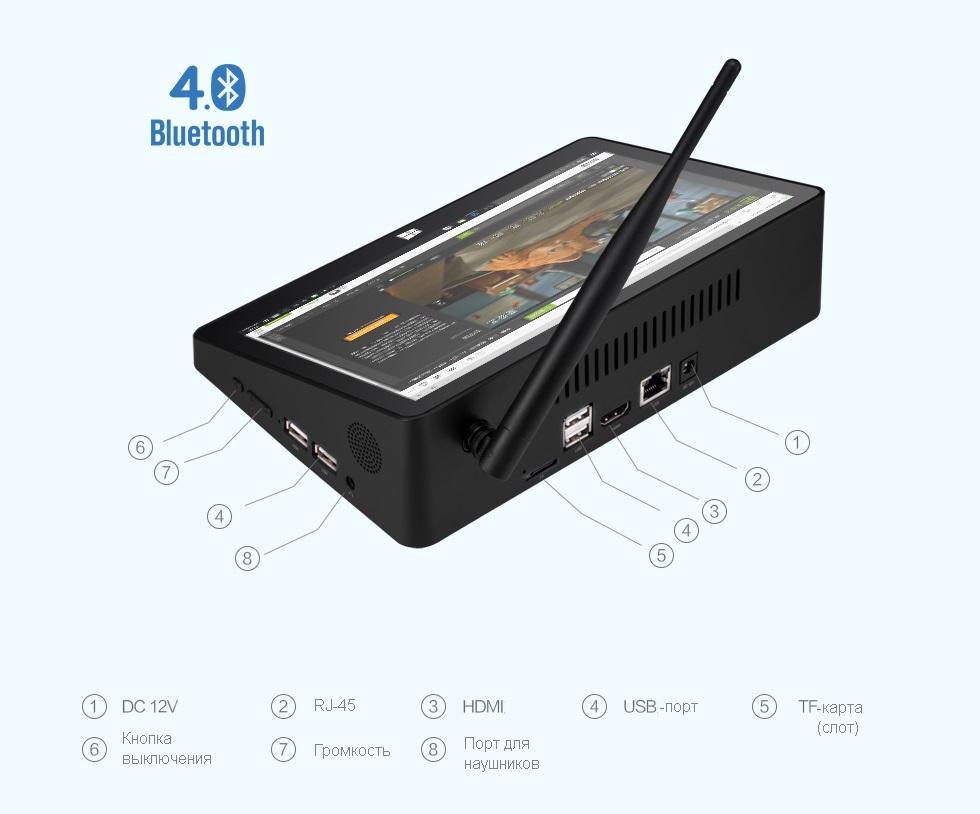 mini pk s jekranom 108 djujma pipo x10 pro 11 - Мини-ПК с экраном 10,8 дюйма PiPo X10 Pro: 4Гб+64Гб, 10000 мАч батарея, Android + Windows 10, Intel Cherry Trail Z8350 1.92 ГГц, LAN, HDMI