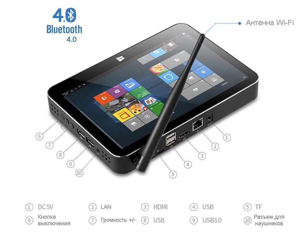 mini pk s jekranom pipo x11 03 - Мини-ПК с экраном PiPo X11: 8,9 дюймов, Windows 10+ Android, 2/32Гб, HDMI, USB 3.0