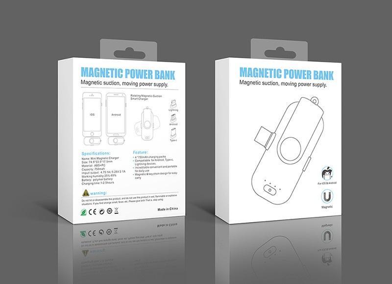 power bank magnitnaja zarjadka 1000 mach 09 - Power Bank + магнитная зарядка 1000 мАч (+магнитные переходники для iPhone Lightning, Micro USB, Tipe-C)