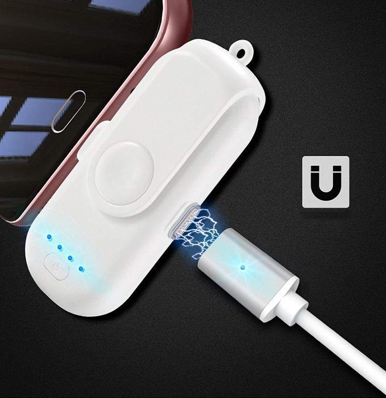 Power Bank + магнитная зарядка 1000 мАч (+магнитные переходники для iPhone Lightning, Micro USB, Tipe-C)