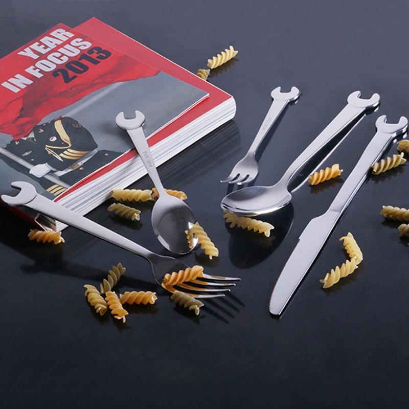 Столовые приборы из нержавеющей стали в форме гаечного ключа: столовая ложка, столовая вилка, десертная ложка, десертная вилка, нож для мяса, столовый нож 223553
