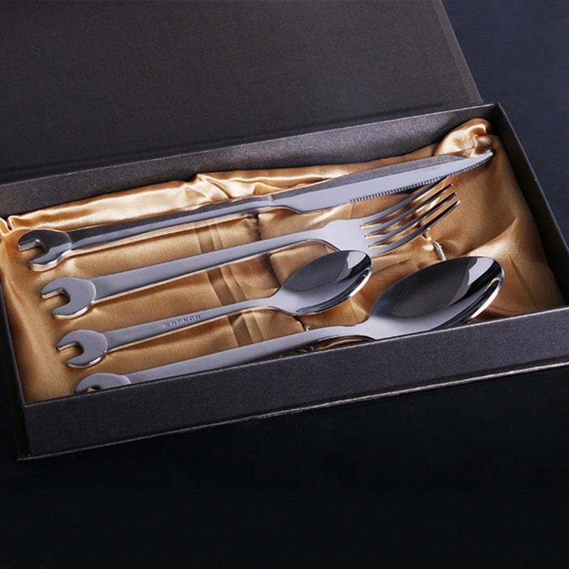 Столовые приборы из нержавеющей стали в форме гаечного ключа: столовая ложка, столовая вилка, десертная ложка, десертная вилка, нож для мяса, столовый нож 223554