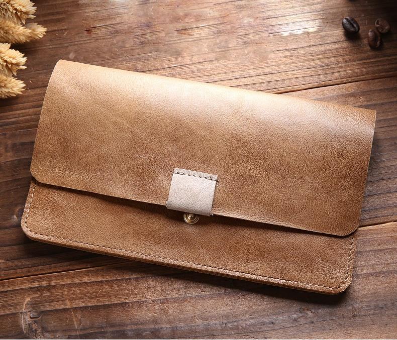 Мужской кожаный кошелек + чехол для смартфона Vanlord Etud – натуральная кожа первый слой