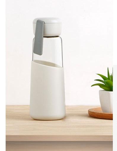Питьевая многоразовая бутылка Alisson (стекло + пищевой силикон 400 мл)