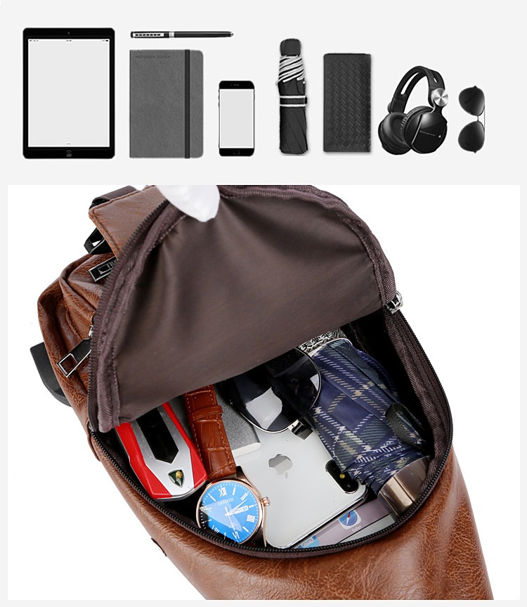 plechevaja sumka rjukzak s usb portom yushilai 29 - Плечевая сумка-рюкзак с USB-портом Yushilai – PU кожа