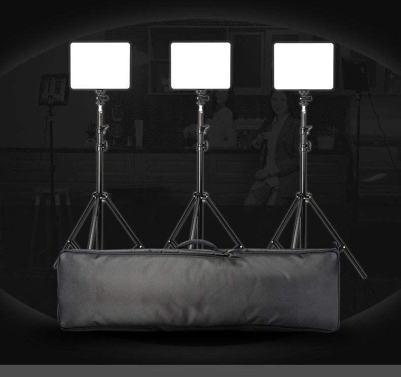 Комплект Свет фотографа: 3 х накамерные осветители Viltrox VL-200  со штативами и адаптерами питания + пульт ДУ + сумка