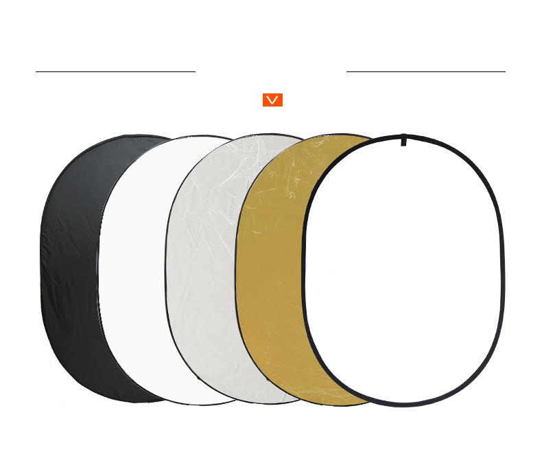 Эллиптический фотоотражатель VILTROX 5 в 1 – 150 х 200 см  (мягкий свет, белый, золото, серебро, черный)