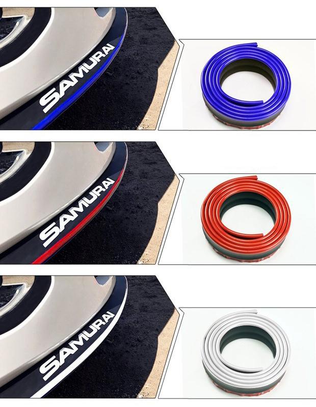 Универсальная накладка на бампер Samurai (юбка, фартук, губа, сплиттер на бампер) – резина+карбон, разные цвета