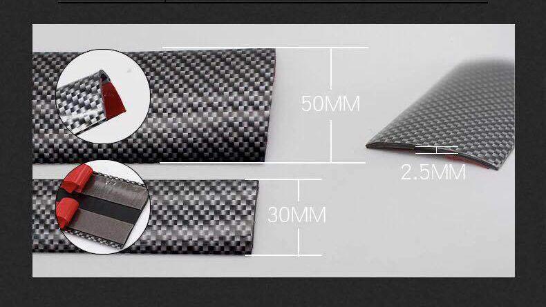 Универсальные резиновые накладки на педали, пороги, двери (тюнинг салона авто) Samurai: ПВХ + углеродное волокно