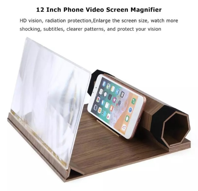 uvelichitel jekrana telefona s 12 djujmovoj hd linzoj derevjannaja podstavka 02 - Увеличитель экрана телефона с 12-дюймовой HD линзой, деревянная подставка