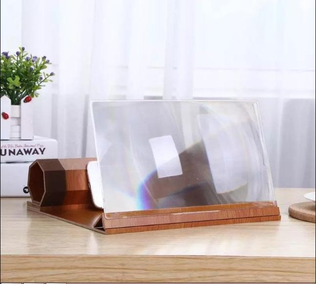 Увеличитель экрана телефона с 12-дюймовой HD линзой, деревянная подставка