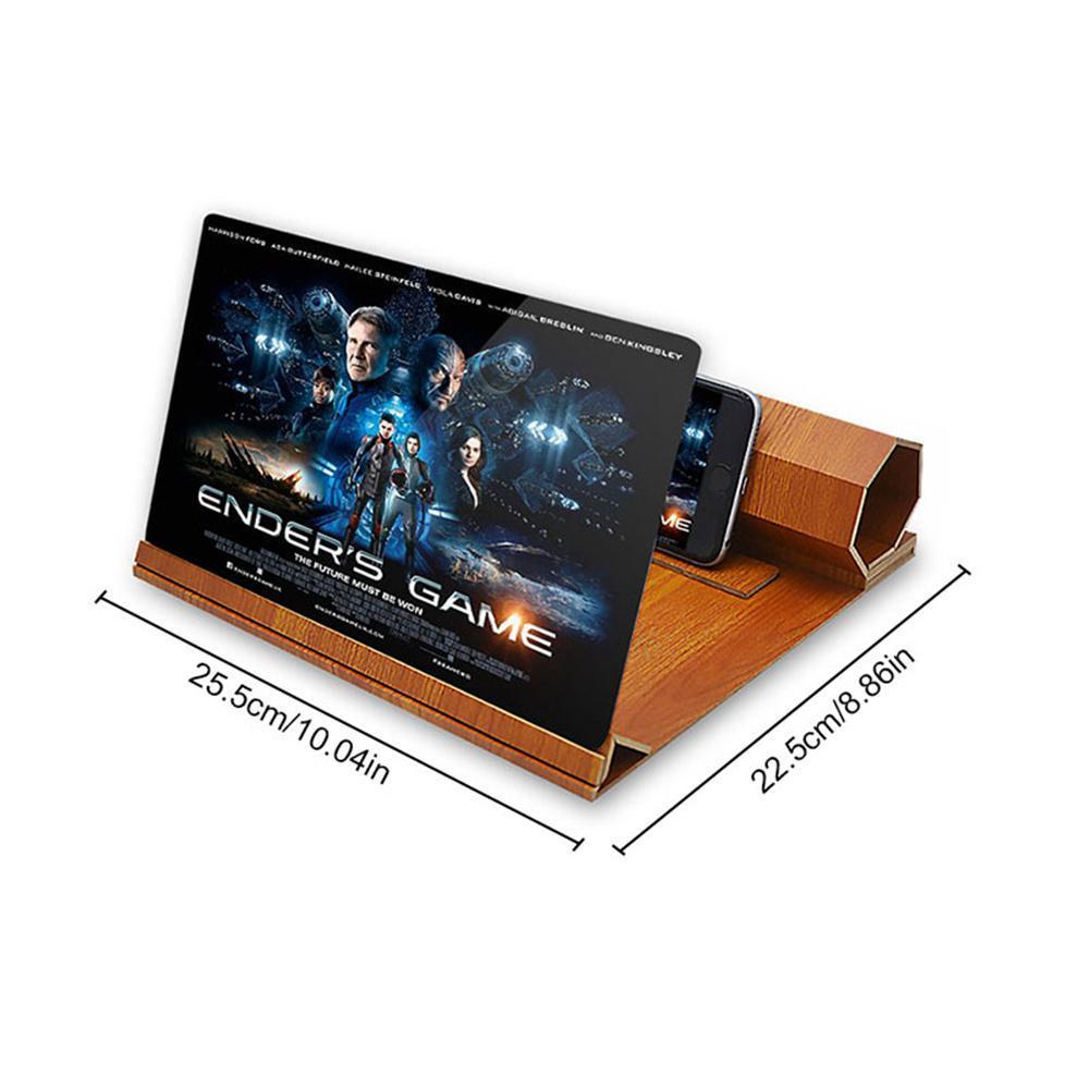 uvelichitel jekrana telefona s 12 djujmovoj hd linzoj derevjannaja podstavka 08 - Увеличитель экрана телефона с 12-дюймовой HD линзой, деревянная подставка