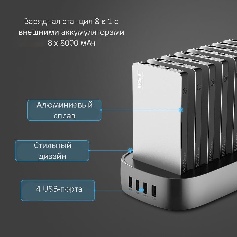 zarjadnaja stancija 8 v 1 wst s vneshnimi akkumuljatorami 02 - Зарядная станция 8 в 1 WST с внешними аккумуляторами – 8 х 8000 мАч, Micro USB + Lightning + Tipe C, 4 х USB