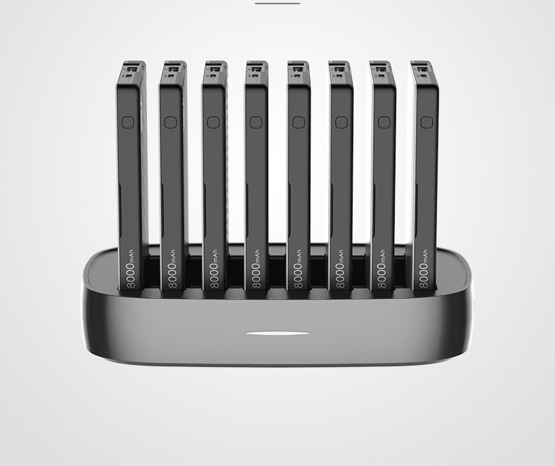 zarjadnaja stancija 8 v 1 wst s vneshnimi akkumuljatorami 03 - Зарядная станция 8 в 1 WST с внешними аккумуляторами – 8 х 8000 мАч, Micro USB + Lightning + Tipe C, 4 х USB