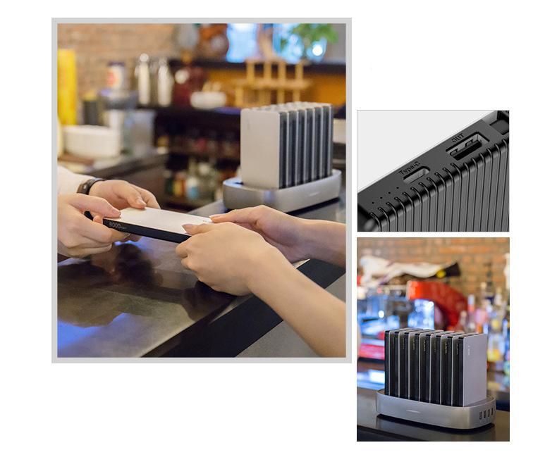 zarjadnaja stancija 8 v 1 wst s vneshnimi akkumuljatorami 14 - Зарядная станция 8 в 1 WST с внешними аккумуляторами – 8 х 8000 мАч, Micro USB + Lightning + Tipe C, 4 х USB